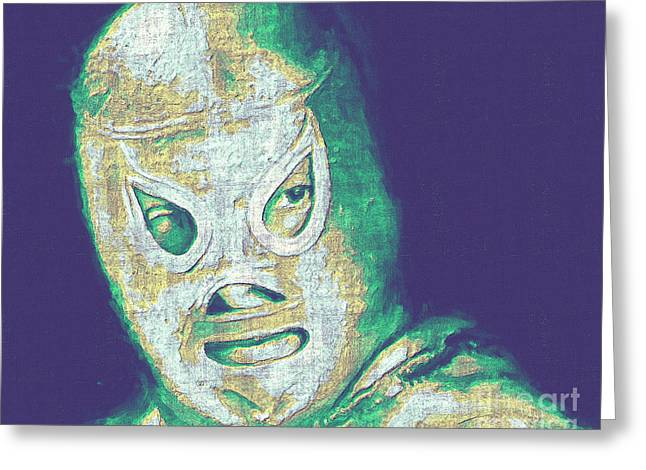 Wwf Greeting Cards - El Santo The Masked Wrestler 20130218v2 Greeting Card by Wingsdomain Art and Photography