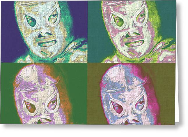 Wwf Greeting Cards - El Santo The Masked Wrestler Four 20130218 Greeting Card by Wingsdomain Art and Photography