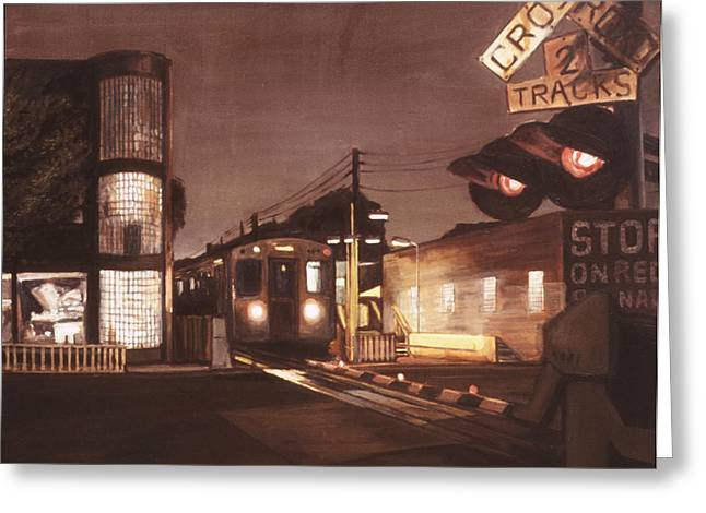 Film Noir Paintings Greeting Cards - El Station at Francisco Greeting Card by Christopher Buoscio