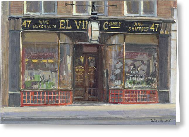 Journalist Greeting Cards - El Vinos, Fleet Street Oil On Canvas Greeting Card by Julian Barrow