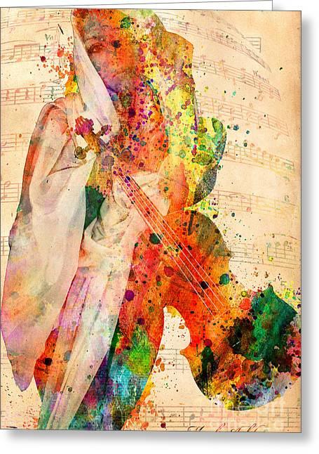 Human Being Greeting Cards - El Violin  Greeting Card by Mark Ashkenazi