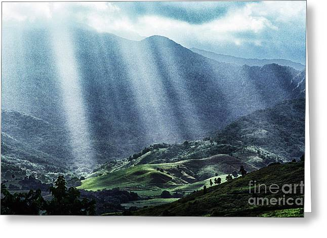 Puerto Rico Digital Greeting Cards - El Yunque and Sun Rays Greeting Card by Thomas R Fletcher