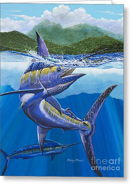 Striped Marlin Paintings Greeting Cards - El Yunque Greeting Card by Carey Chen