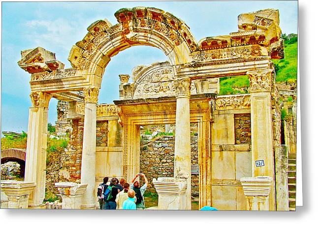 Domitian Greeting Cards - Elaborately Carved Arches in Temple of Domitian in Ephesus-Turkey  Greeting Card by Ruth Hager