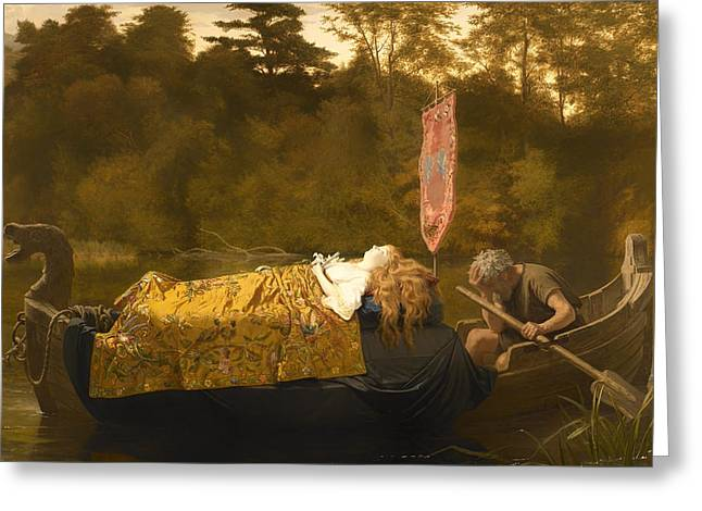 Death Of Waters Greeting Cards - Elaine Greeting Card by Sophie Anderson