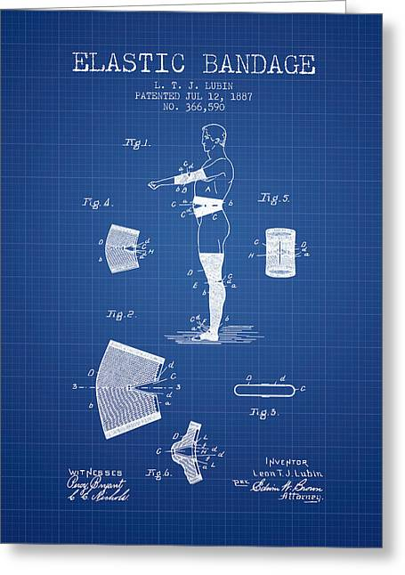 Elastic Bandage Patent From 1887 - Blueprint Greeting Card by Aged Pixel