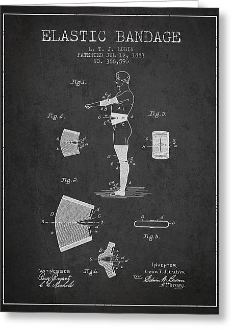Bandages Greeting Cards - Elastic Bandage Patent from 1887 - Charcoal Greeting Card by Aged Pixel