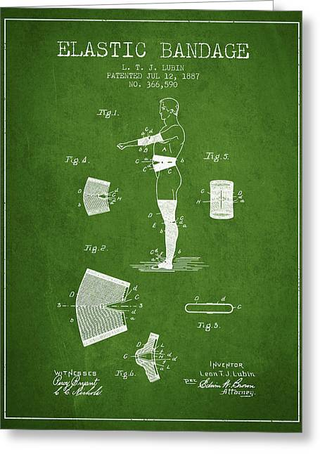 Elastic Bandage Patent From 1887 - Green Greeting Card by Aged Pixel
