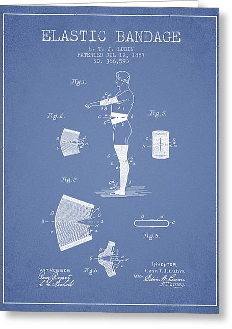 Elastic Bandage Patent From 1887 - Light Blue Greeting Card by Aged Pixel