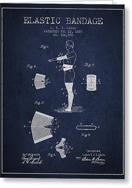 Elastic Bandage Patent From 1887 - Navy Blue Greeting Card by Aged Pixel