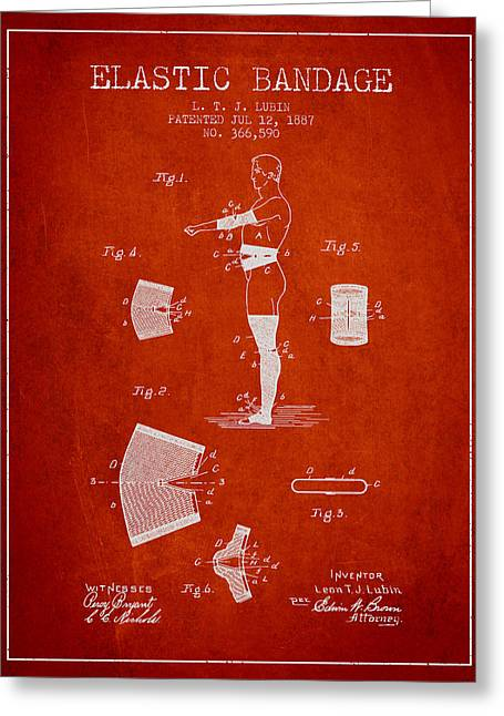 Elastic Bandage Patent From 1887 - Red Greeting Card by Aged Pixel
