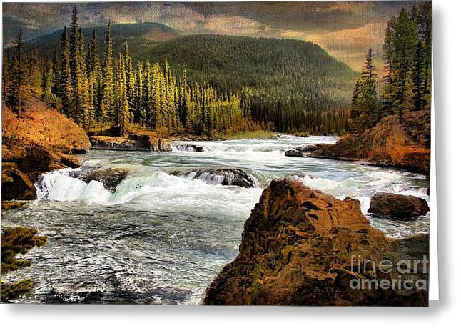 Color Enhanced Greeting Cards - Elbow Falls Greeting Card by Vickie Emms