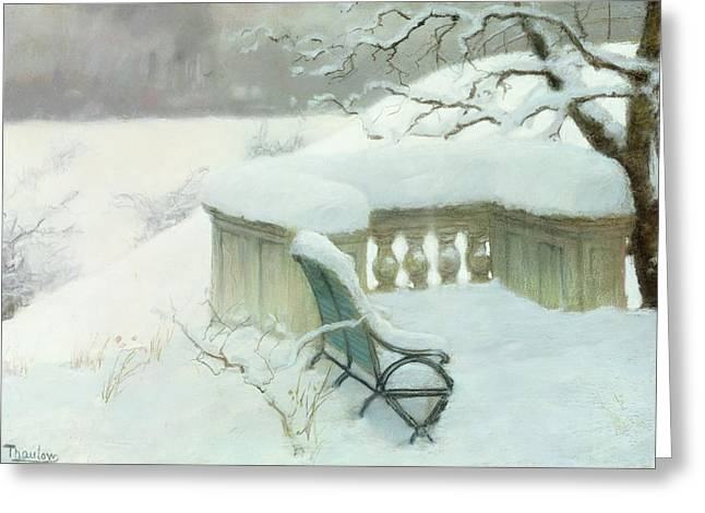 Winter Pastels Greeting Cards - Elbpark in Hamburg Greeting Card by Fritz Thaulow