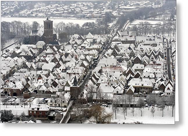 Elburg In Winter, Gelderland Greeting Card by Bram van de Biezen