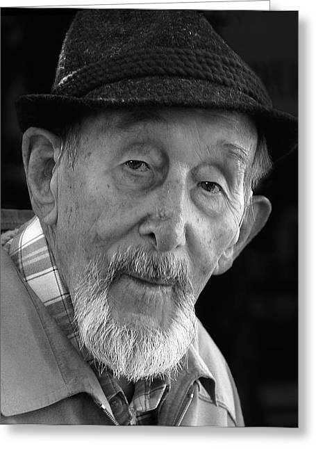 Old Man With Hat Greeting Cards - Elder German Gent with Hat and Beard Greeting Card by Ginger Wakem