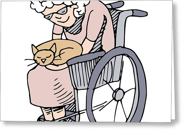 Pet Therapy Greeting Cards - Elderly Cat Lover Greeting Card by John Takai