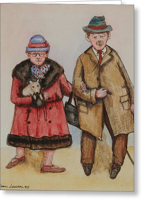 Companionship Greeting Cards - Elderly Couple, 1985 Watercolour On Paper Greeting Card by Gillian Lawson