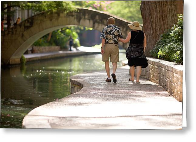 Couple In Arms Greeting Cards - Elderly Couple on Riverwalk Greeting Card by Samuel Kessler