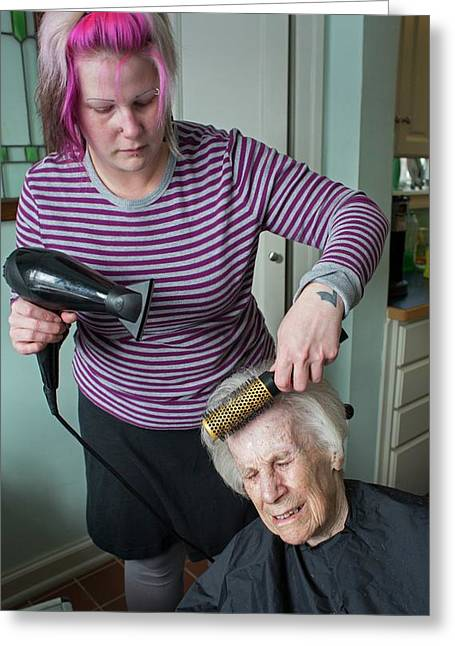 Elderly Lady Having Her Haircut Greeting Card by Jim West