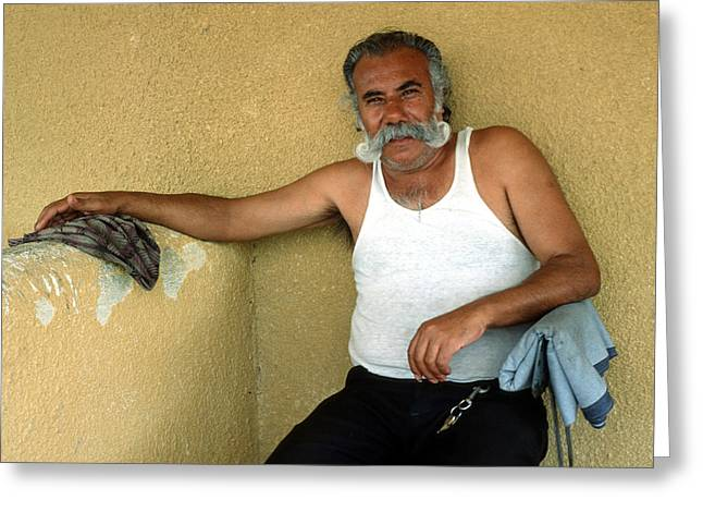 Impartial Greeting Cards - Elderly Man Relaxing Greeting Card by Mark Goebel