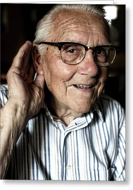 Elderly Man With Hearing Loss Greeting Card by Mauro Fermariello