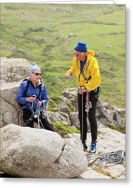 Elderly Rock Climbers Greeting Card by Ashley Cooper