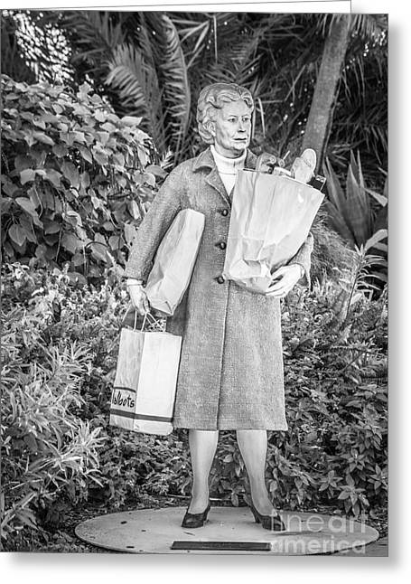 Elderly Female Greeting Cards - Elderly Shopper Statue Key West - Black and White Greeting Card by Ian Monk