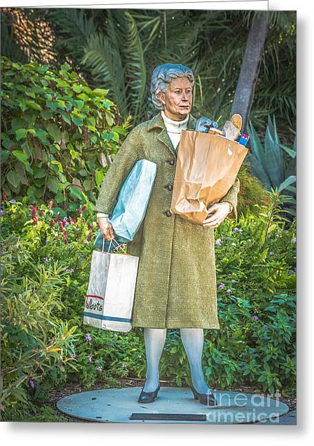Elderly Female Greeting Cards - Elderly Shopper Statue Key West - HDR Style Greeting Card by Ian Monk