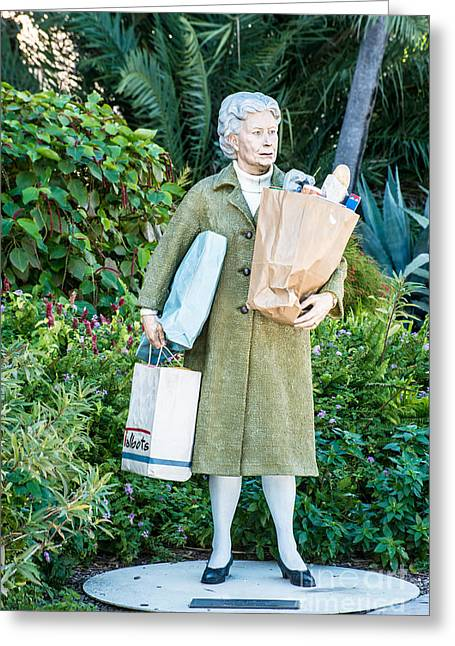 Elderly Female Greeting Cards - Elderly Shopper Statue Key West Greeting Card by Ian Monk