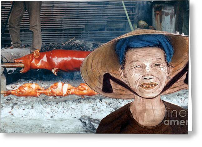 Straps Greeting Cards - Elderly Vietnamese Woman Wearing a Conical Hat Altered Version Greeting Card by Jim Fitzpatrick