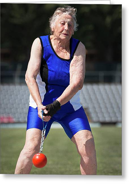 Elderly Woman Competitive Weights Thrower Greeting Card by Alex Rotas