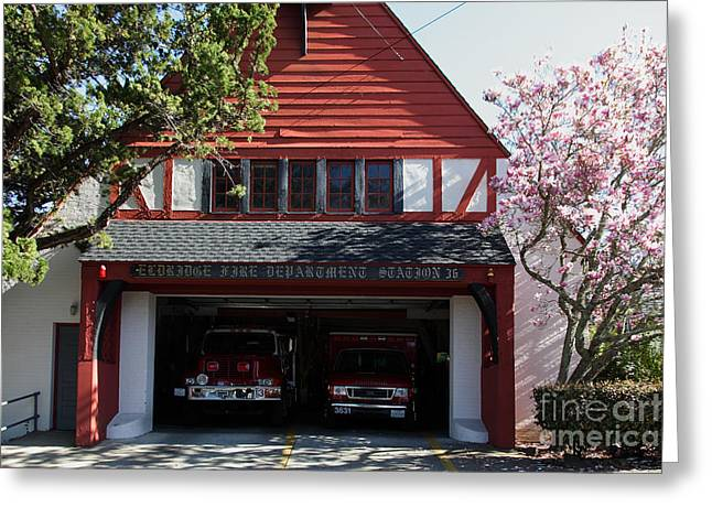 Sonoma Greeting Cards - Eldridge Fire Department Station 36 5D22229 Greeting Card by Wingsdomain Art and Photography