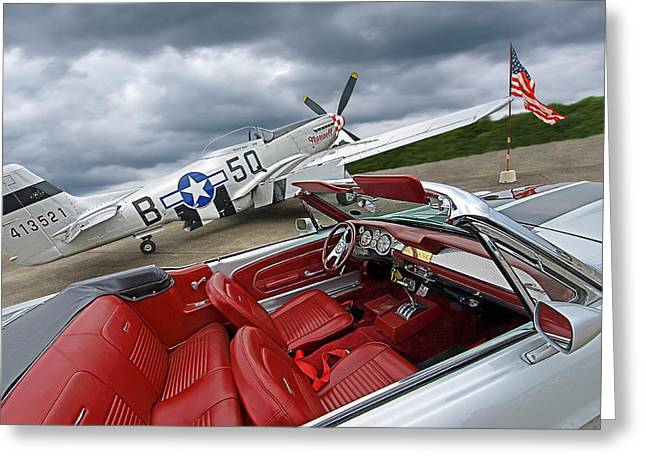 Eleanor Cockpit With P51 Mustang Greeting Card by Gill Billington