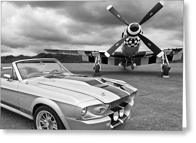 Caves Greeting Cards - Eleanor Mustang with P51 Black and White Greeting Card by Gill Billington