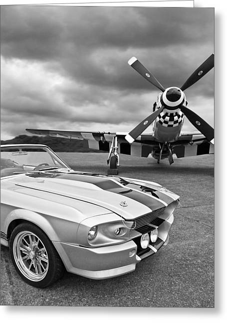 Aircraft Artwork Greeting Cards - Eleanor Mustang with P51 Black and White Greeting Card by Gill Billington