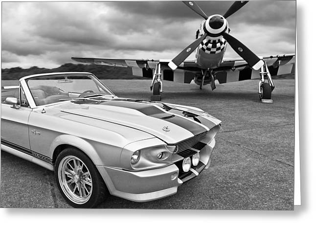Vintage Airplane Greeting Cards - Eleanor Mustang with P51 Black and White Greeting Card by Gill Billington