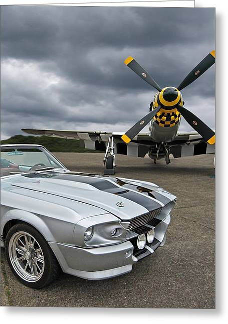Eleanor Mustang With P51 Greeting Card by Gill Billington