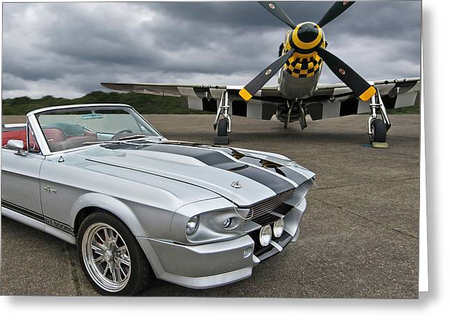 Airplane Propeller Greeting Cards - Eleanor Mustang With P51 Greeting Card by Gill Billington