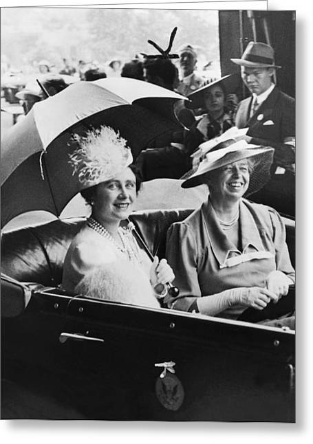 Eleanor Roosevelt & The Queen Greeting Card by Underwood Archives