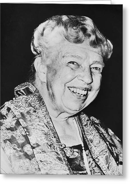 First-lady Greeting Cards - Eleanor Roosevelt Greeting Card by Underwood Archives