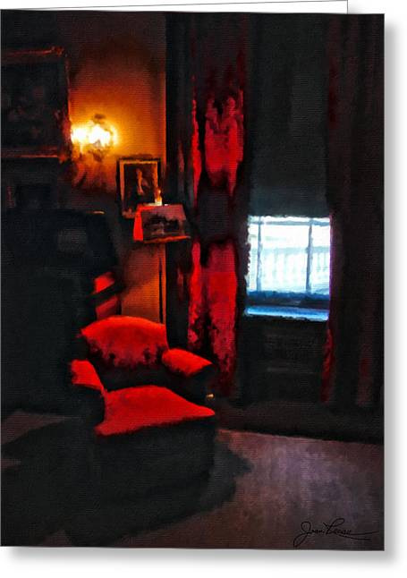 Reading By Window Greeting Cards - Eleanors Chair Greeting Card by Joan Reese