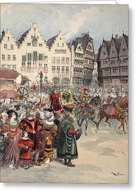 Roman Empire Greeting Cards - Election To The Empire The Procession Greeting Card by Albert Robida