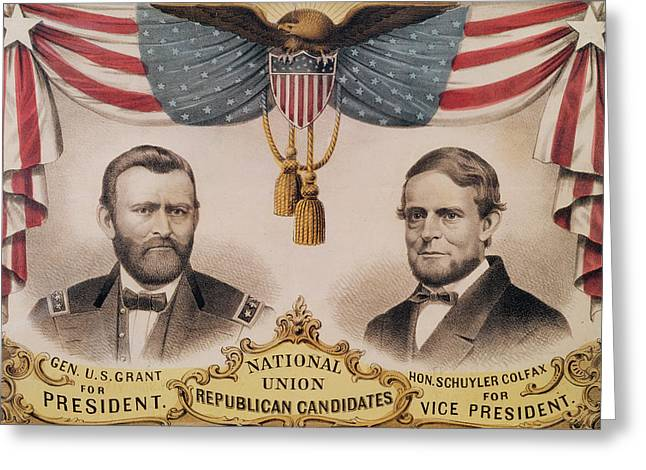 Vice Presidents Greeting Cards - Electoral Poster for the USA Presidential Election of 1868 Greeting Card by American School