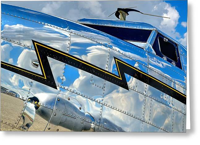 Lockheed Electra Greeting Cards - Electra Reflections Greeting Card by Chris Buff