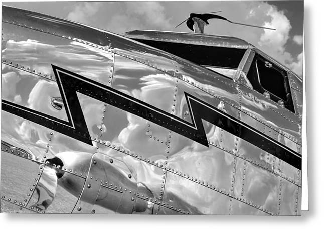 Lockheed Electra Greeting Cards - Electra Reflections in Black and White Greeting Card by Chris Buff