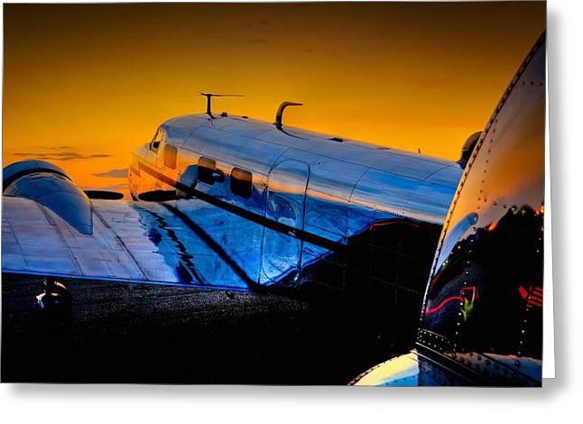 Lockheed Electra Greeting Cards - Electra Sunset Greeting Card by Chris Buff
