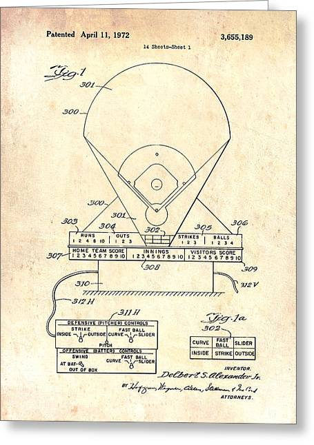 Baseball Game Greeting Cards - Electric Baseball Game Patent 1972 Greeting Card by Mountain Dreams