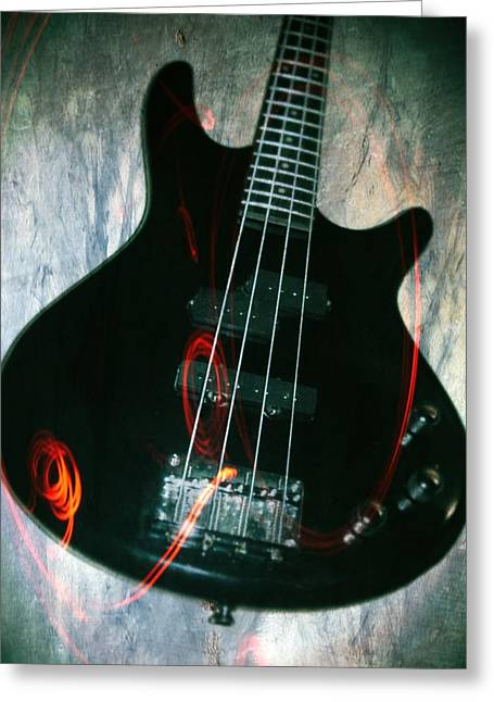 Electric Bass - In The Studio Greeting Card by Brian Howard