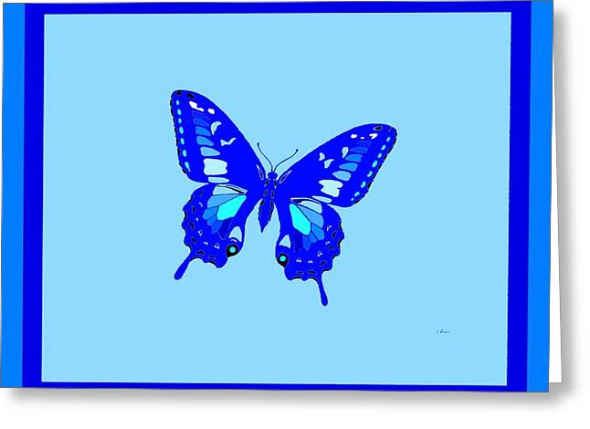 Consume Mixed Media Greeting Cards - Electric Blue Butterfly 2 Borders Greeting Card by L Brown