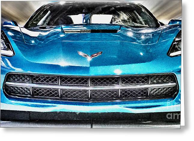 Usa Photographs Greeting Cards - Electric Blue Corvette Panoramic Greeting Card by Tom Gari Gallery-Three-Photography